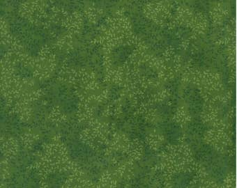 By The HALF YARD - Tonal Dark Green Leafy Vines on Green, 100% Quilting Cotton