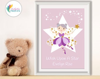 Fairy Nursery Print with Custom Name, Pastels & Gold -  Customisable Name, Girl's Name Print, Girl's Bedroom Print, Fairy Print