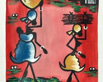 Original hand painted West African artwork