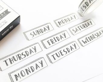 Week Washi Tape 15mm/ Days of the Week Washi Tape/ Black and White Washi/ Bullet Journal Washi Tape/ Masking Tape/ Decorative Tape