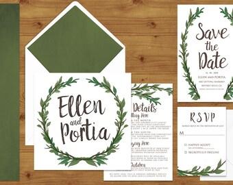 Leaf Green Painted Foliage Wedding Invitations Stationery Set - Printed or Digital Download - Greenery Wedding - Wedding Printable