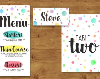 Colourful Rainbow Watercolour Place Cards, Table Numbers, Menu Cards - Rainbow Wedding - Table Name - Name Card - Wedding Stationery
