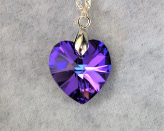 Swarovski Amethyst Crystal Heart on Sterling Chain