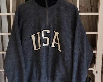 Vintage Black Mountain USA spellout sweatshirt half zipper/large/made in usa