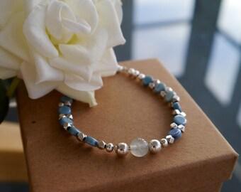 Gemini Blue Gemstone Bracelet | Seafoam Blue | Jade gemstone