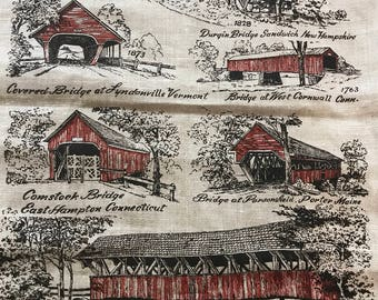 Vintage KayDee Linen Tea Towel Covered Bridges Collectible Bridge Souvenir Kitchen Towel