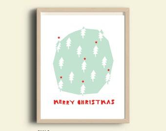 Merry Christmas, christmas poster, holidays print, printable poster, christmas decor, christmas wall art, instant download, printable art