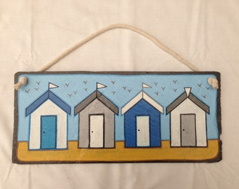 Hand painted beach hut slate picture