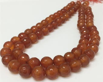 10mm Faceted Orange Agate Beads, Gemstone Beads, Wholesale Beads