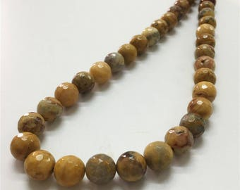 10mm Faceted Crazy Lace Agate Beads, Yellow Crazy Lace Agate Gemstone Beads, Wholesale Beads