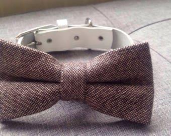 Brown tweed bow tie dog wedding collar white leather