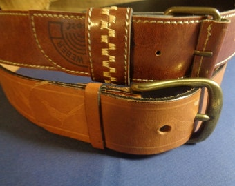 2 Vintage Leather Brown Belts Tooled Bird Stamped & Gerry Weber Women's Belt, Brass and Metal Buckles Casual and Dress Belt Made In Europe
