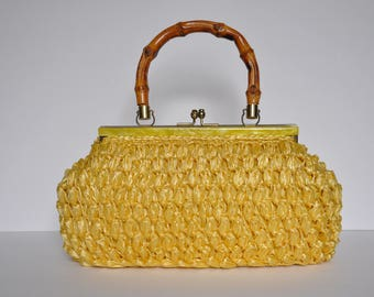 Sunflower Yellow Sophia Purse with Yellow Lacquer Rim