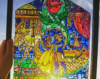 Beauty and the Beast Stained Glass Window A3 Frame