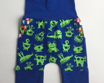 Grow with me shorts, harem shorts, monster shorts, candy shorts, boy shorts, blue shorts, baby shorts, toddler shorts, green shorts