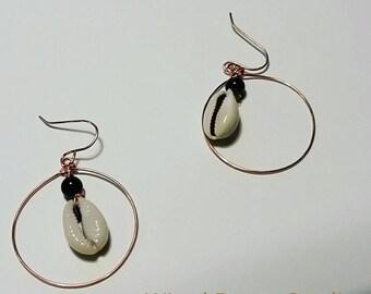 Black onyx and cowrie shell hoop earrings, copper hoop earrings, gemstone and shell hoops, copper and gemstone hoop earrings, gifts for her