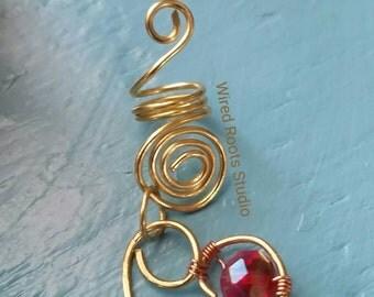 Heart hair jewelry,  beaded hair jewelry, loc jewelry,  loc charms, hair accessories for locs, braids and twists, copper locjewelry, boho