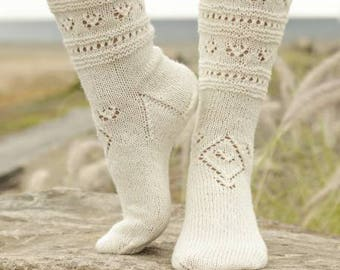 Knitted Ladies Socks with Lace Pattern