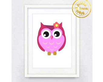 Printable art Digital Prints modern printable art Home decor cute pink owl