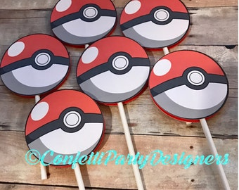Pokéball Cupcake Toppers