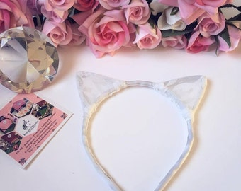 Cat ears headband ariana grande white lace satin ribbon wedding bridal bridesmaids meow