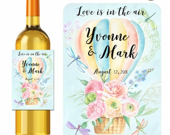 Wedding Wine Labels Personalized Love Is In The Air Hot Air Balloon Watercolor Flowers Dragonflies Labels Waterproof Vinyl