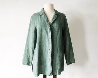 Vintage Green 80s Linen Jacket Button Front - Sage Woven Blouse Top