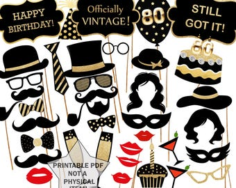 """80th Birthday Photo Booth props: """"PRINTABLE PARTY PROPS"""" Party supplies Printable Pdf Black and gold props Photo Booth supplies"""