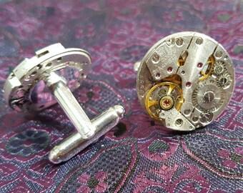 Highest Quality 21 jewel Vintage Watch Movement Cufflinks. 20mm Round. Ideal gift