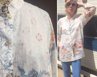 Vintage 100% Linen Blouse / Block Print / Mao Collar / Abalone Shell Buttons