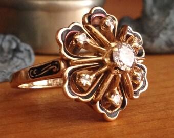 Vintage Antique Art Deco 14k Gold Diamond Enamel Flower Ring