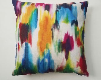 Multi Watercolor Pillow Cover, Linen Pillow, Decorative Pillow, Accent Pillow, Sofa Pillow, Bedroom Pillow, Throw Pillow