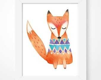 Woodland Watercolour Animal Nursery Prints, Scandinavian Nursery Fox Print, Woodland Animal Print, Watercolour Wall Art, Fox Nursery Print