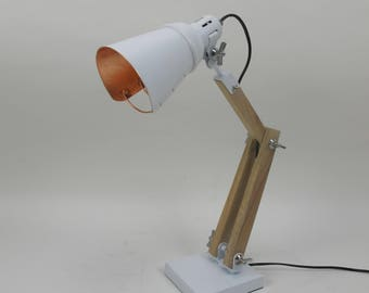 """Smokestack 17.32"""" Wood Table Lamp with White Metal Shade"""