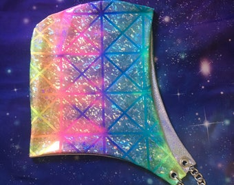 Rainbow Sparklepony Hood w/ White Holographic Lining Festival Hood//Rave//Dance
