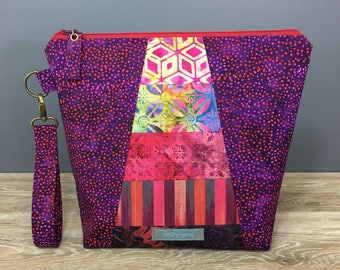 Magenta Berry - Medium Size Project Knitting Bag by WIPyarns, Sock Bag, Project Bag, Pieced Patchwork Fade