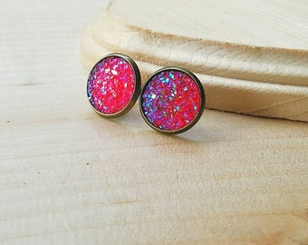 Pink Druzy Stud Earrings, Druzy Earrings, Druzy Studs, Faux Druzy Earrings, Faux Druzy Studs, Hypoallergenic, Bronze Earring, Pink