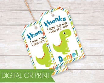 Dinosaur Party Favor Tags, Birthday Thank You Tags, Printable Favor Tags, Printed Favor Tags, Custom Thank You Tags, Personalized Party Tags