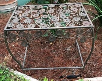 Metal plant stand,Garden stand, twig motif, garden bench,