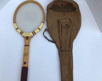 Vintage wooden Tennis Racquet, Dunlap Tennis Racquet, Tennis Bag, Canvas Bag, Antique Woodie Racquet,
