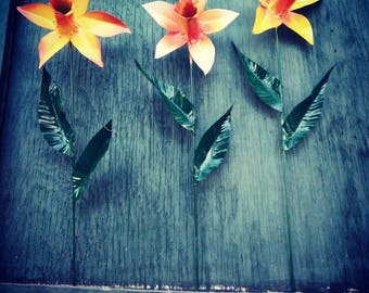 Metal Flower Garden Stake,  Metal Daffodil Garden Art,  Metal Garden Decor,  Flower Yard Decoration