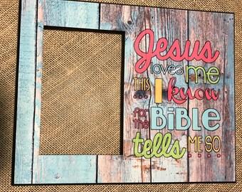 Custom 'JESUS LOVES ME' Photo Frame