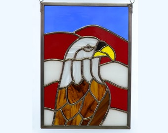 Bald Eagle Red White and Blue Stained Glass Sun Catcher In Zinc Frame