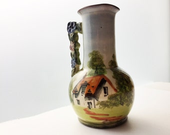 Royal Torquay Pottery Pitcher with Floral Handle and Cottage Scene - Hand Painted Torquay Terracotta - Cottageware