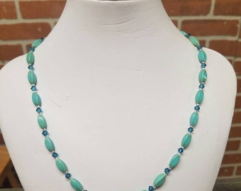 Magnesite with Swarovski Crystal Necklace