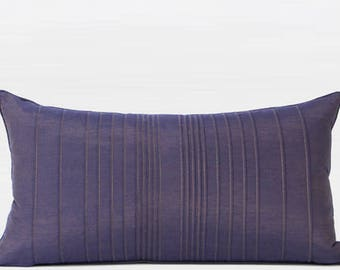 "Luxury Purple Striped Textured Pillow 12""X22"""