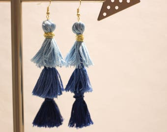 Blue Ombre Tassel Earrings