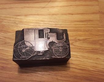 "Antique Copper Letterpress Block Stamp ""Horse Drawn Carriage"""