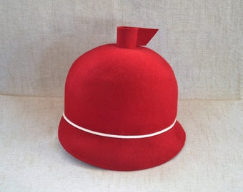 Vintage Red Hat 100% Wool Mr. James California Lancaster Hat Retro Advant Garde Fox Hunt Cap