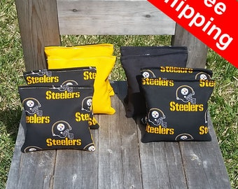 "FREE SHIPPING! Pittsburgh Steelers set of 8 corn hole bags, top notch quality: 6"" regulation size! free shipping"